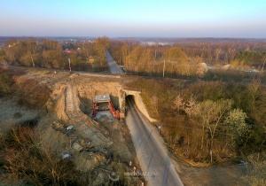 Widziane z góry: budowa przejścia pod wiaduktem na ul. Sosnkowskiego (31.03.2019)