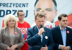 Wiec poparcia dla Andrzeja Dudy z szefem MON
