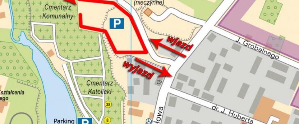 Zmieniona organizacja ruchu i dodatkowy parking przy cmentarzu