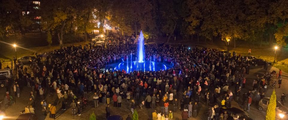 Uroczyste otwarcie fontanny przed MDK