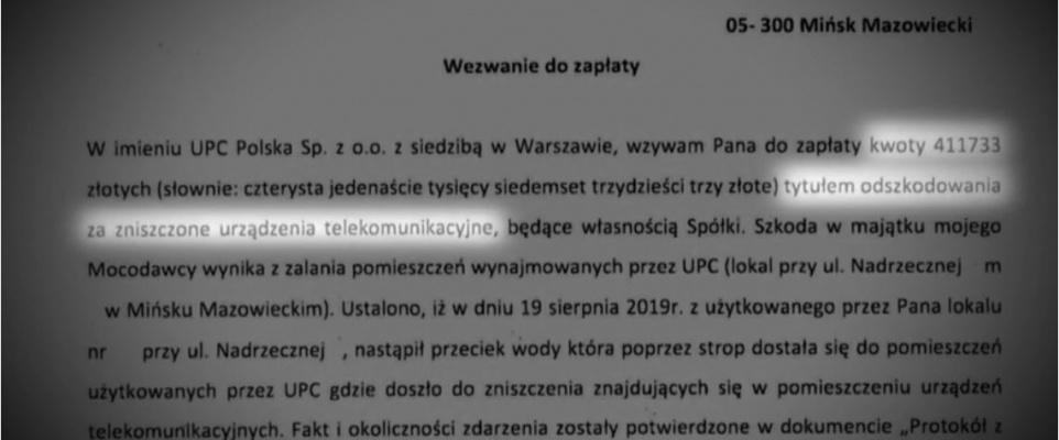 UPC trzymało swój sprzęt w lokalu pod wanną emeryta. Teraz wzywa go do zapłaty ponad 400 tys. zł