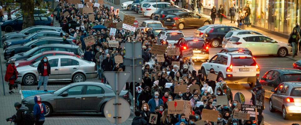 Strajk kobiet. Blokada ulic Mińska Mazowieckiego